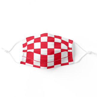RED AND WHITE RACING CHECKER ADULT CLOTH FACE MASK
