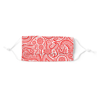 Red and white vintage paisley pattern adult cloth face mask