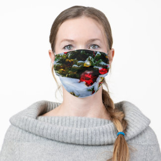 Red And Yellow Christmas Balls, Snow Adult Cloth Face Mask