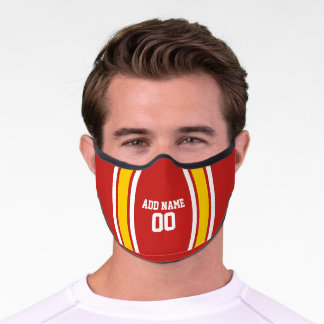 Red and Yellow Sports Jersey Custom Name Number Premium Face Mask