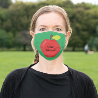 Red Apple on Green Name Teacher Cloth Face Mask