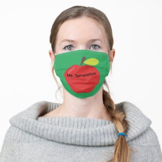 Red Apple on Green with Name Teacher Adult Cloth Face Mask