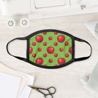 Red Apples On Green Background Face Mask