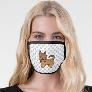 Red Australian Terrier Cute Cartoon Dog & Paws Face Mask