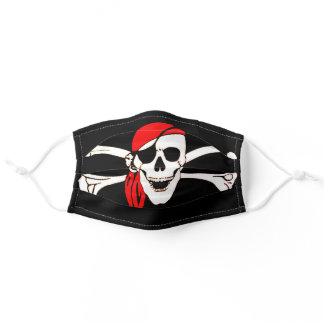 Red Bandana Pirate Flag - Cool Adult Cloth Face Mask