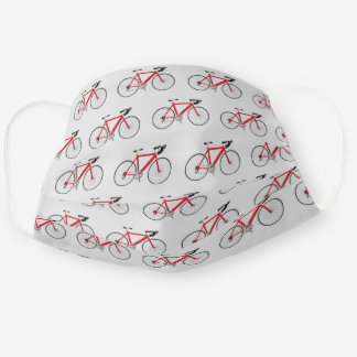 red bicycle graphic on light gray cloth face mask