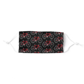 red bicycle on black adult cloth face mask