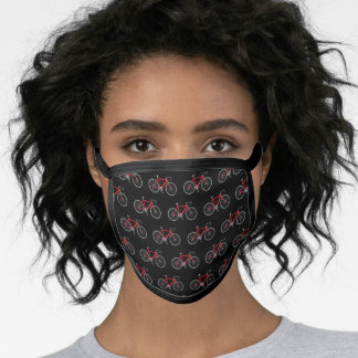 red bicycle on black face mask
