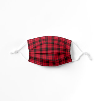 Red Black Buffalo Plaid Checkered Tartan Kids' Cloth Face Mask