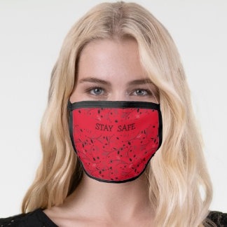 Red Black FLORAL PRINT Customizable STAY SAFE Face Mask