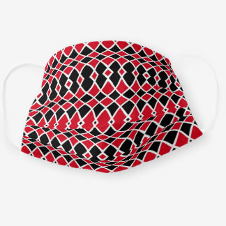 Red Black White Op Art Mosaic Geometric Pattern Cloth Face Mask