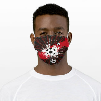 Red, Black, White Soccer Balls Face Mask