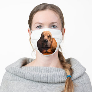 RED BLOODHOUND DOG ADULT CLOTH FACE MASK
