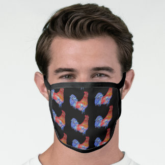Red Blue Rooster Chicken Black Pattern Face Mask