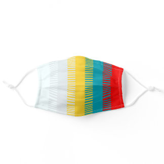 Red Blue Yellow White Gray Chic Unique Pattern Adult Cloth Face Mask