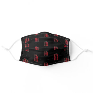 Red Buffalo Plaid Utah State Map Pattern Adult Cloth Face Mask