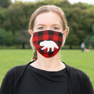 Red Buffalo Plaid & White Bear Adult Cloth Face Mask