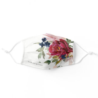 Red Burgundy Blush Blue Floral Peony Bunch  Adult Cloth Face Mask