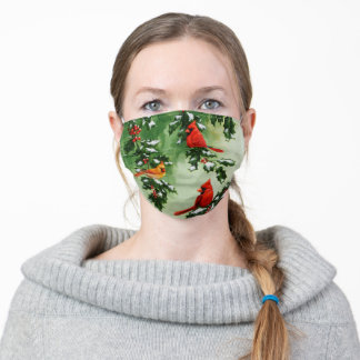 Red Cardinals and Christmas Holly Adult Cloth Face Mask