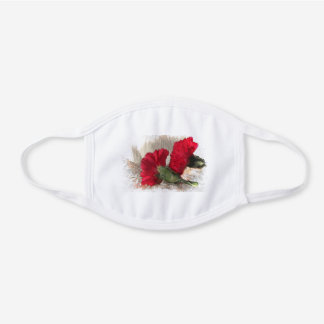 Red Carnation Flowers Cotton Face Mask