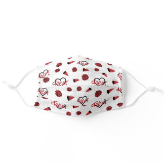 Red Cheer Hearts, Pom Poms, Megaphone Pattern Adult Cloth Face Mask