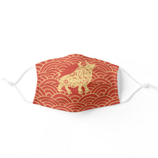 Red Chinese New Year Ox Adult Cloth Face Mask