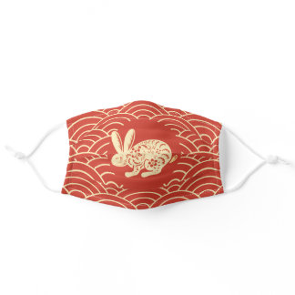Red Chinese Zodiac Rabbit Adult Cloth Face Mask