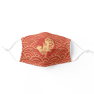 Red Chinese Zodiac Rooster Adult Cloth Face Mask