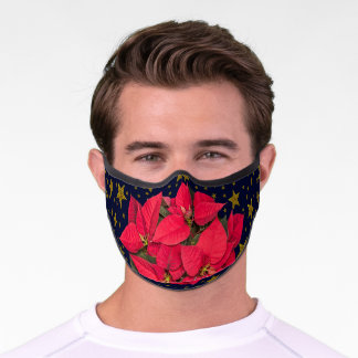 Red Christmas flower, sparkly gold stars on blue Premium Face Mask
