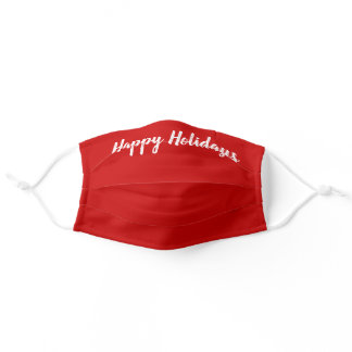 Red Christmas Happy Holidays Brush Script Adult Cloth Face Mask