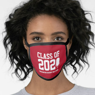 Red Class of 2021 Distance Learning Mic Graduation Face Mask