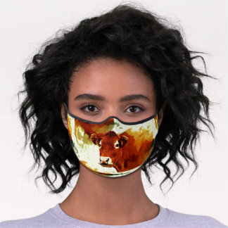 Red Cow Painting Premium Face Mask