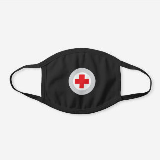 Red Cross Medical Icon Black Cotton Face Mask