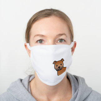 Red English Staffordshire Bull Terrier Dog White Cotton Face Mask