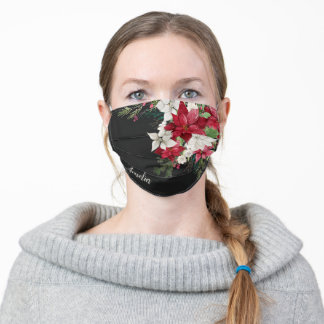 Red Floral Christmas Bride Bouquet with Name Black Adult Cloth Face Mask
