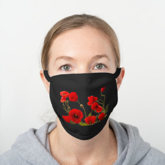 Red Floral Poppy Flowers Field Black Spring Garden Black Cotton Face Mask