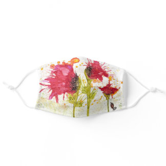 Red Floral Watercolor Poppies and a Bird Adult Cloth Face Mask