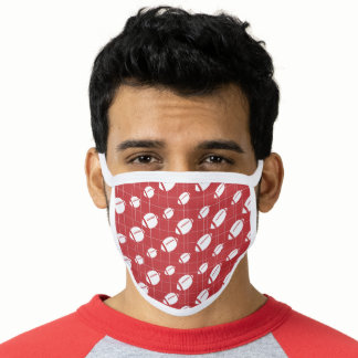 Red Football Grid Patterned Face Mask