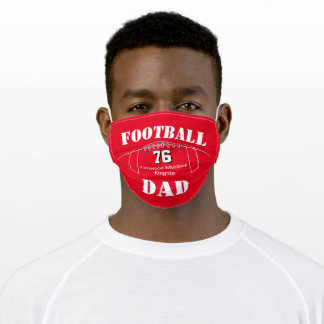 Red Football Team Colors, Football Dad Adult Cloth Face Mask