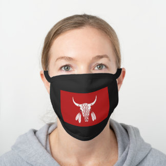 Red Ghost Dance Buffalo cotton face mask vivid
