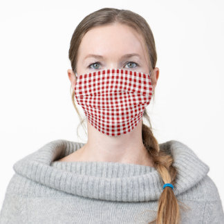 Red Gingham Pattern Adult Cloth Face Mask