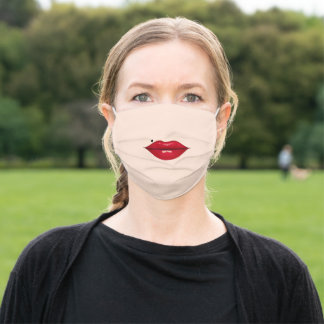 Red Glossy Lips with Heart Piercing Choose Colors Adult Cloth Face Mask