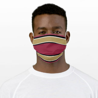 Red, Gold and Black Sports Stripe Adult Cloth Face Mask