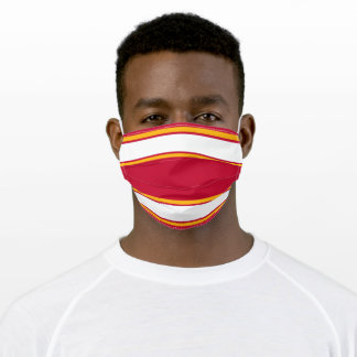 Red, Gold and White Sports Stripe Adult Cloth Face Mask