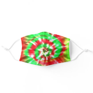 Red & Green Christmas Colors Tie And Dye Print Adult Cloth Face Mask