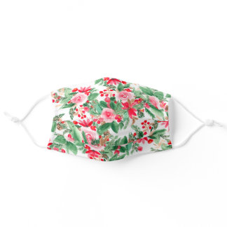 Red green Christmas floral watercolor pattern Adult Cloth Face Mask