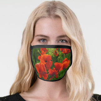 Red green florals summer wildflowers poppies face mask