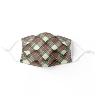 Red Green White Vintage Tartan Plaid Pattern Adult Cloth Face Mask