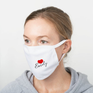 Red heart Custom Name White Cotton Face Mask