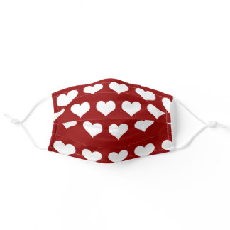 Red Hearts Pattern Adult Cloth Face Mask